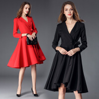 秋冬新款时尚欧美中长款V领系带不规则大摆长袖连衣裙修身