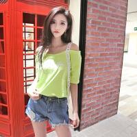 夏装新款时尚性感糖果色刺绣花边t恤女短袖打底衫上衣tee