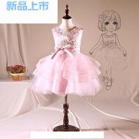 花童礼服女童公主裙儿童主持人演出服蓬蓬裙走秀生日晚礼服粉色
