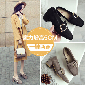 ZHR2018秋季新款韩版浅口单鞋方头高跟鞋粗跟休闲鞋复古学生女鞋