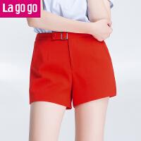 Lagogo2017夏季新款时尚百搭拉链纯色短裤女高腰显瘦休闲裤宽松