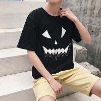 情侣装短袖T恤夏季韩版宽松鬼脸印花打底衫潮流休闲半袖男女体恤