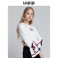 【5折价140】Lagogo/拉谷谷2018冬季新款复古撞色刺绣T恤女长袖上衣HCTT519A01