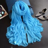 纯色湖兰百搭轻薄长款雪纺丝巾天蓝色围巾浅蓝纱巾防晒沙滩大披肩