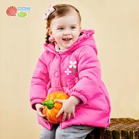 贝贝怡女童外套秋冬季加厚保暖宝宝棉服儿童连帽夹棉外衣婴儿棉袄