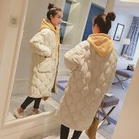 chic过膝棉衣冬季厚外套中长款白色菱格棒球韩版面包服女棉袄