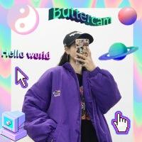 �n��INS同款�凸烹�光紫星球刺�C棉衣外套 17FW男女款
