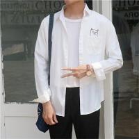 日系小清新纯色衬衫男青少年学生长袖衬衣韩版修身潮流帅气百搭