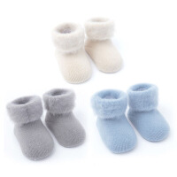 秋冬季婴儿袜子0-6-12个月加绒纯棉宝宝袜子松口加厚保暖新生儿袜