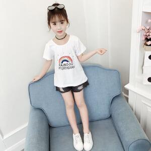 乌龟先森 儿童T恤 女童T恤印花打底衫中大童韩版百搭儿童棉质夏季新款卡通彩虹图案童装短袖