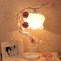 台灯温馨浪漫玫瑰花田园风公主卧室床头灯结婚礼品暖光