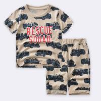 【限时抢:35】罗町2020夏季新款韩版男童休闲套装儿童中小童满印汽车两件套装居家外
