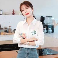 2021春装新款韩版休闲长袖印花真丝白衬衫上衣女时尚外穿百搭