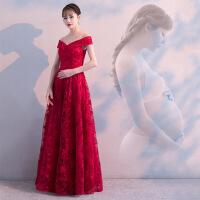 敬酒服新娘2018新款一字肩长款红色高腰孕妇遮孕肚大码结婚晚礼服