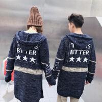 新款情侣装秋冬男女韩版修身中长款字母连帽开衫情侣毛衣针织外套