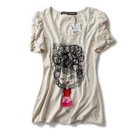 夏装女装上衣日系学院风卡通绣花贴布圆领短袖T恤女百搭