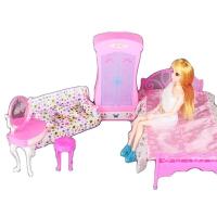 芭比娃娃的衣柜 巴比娃娃过家家卧室房间套装衣柜大床巴比旋转镜子台灯过家家配件 如图