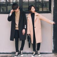 情侣外套韩版男女时尚宽松秋冬新款风衣潮流宽松中长款呢子大衣