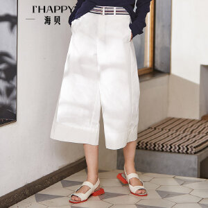 海贝2018春季新款女装 高腰腰带收腰全棉白色阔腿裤休闲裤七分裤