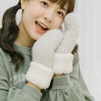 ulzzang韩版冬天保暖可爱小清新女学生日系连指针织毛线手套加绒
