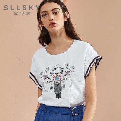 2018熙世界夏季新款时尚韩版螺纹圆领无袖珠片绣花T恤女112ST080