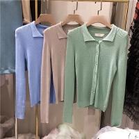 韩国清新甜美长袖显瘦单排扣纯色翻领针织衫X
