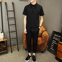 休闲套装男夏季韩版短袖t恤男士修身条纹潮流薄款九分裤两件套