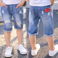 男童短裤夏季薄款儿童牛仔短裤马裤中裤2017中大童裤子男童五分裤