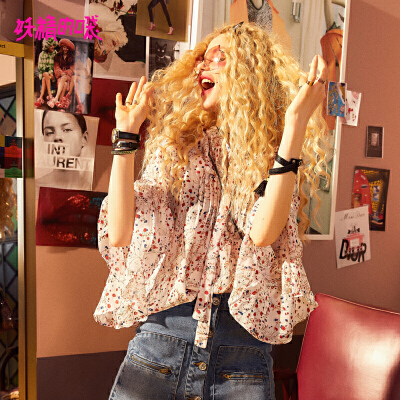 【3折到手价:110】妖精的口袋chic上衣新款温柔风雪纺衫碎花欧货衬衫女 为有趣的人创造惊喜