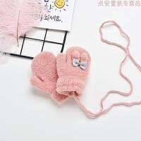 儿童手套保暖可爱冬季1-2男童女童加绒连指3岁小孩婴儿宝宝手套冬