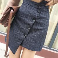 秋季新款韩版百搭复古格子排扣不对称半身裙气质显瘦中长裙潮女