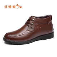 红蜻蜓男鞋冬季新款商务休闲圆头皮鞋舒适套脚男士系带鞋