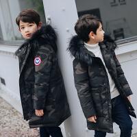 冬季新款儿童羽绒服男童中长款韩版加厚中大童迷彩冬装外套潮秋冬新款