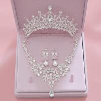 新娘皇冠头饰三件套结婚饰品婚纱配饰首饰套装