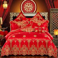 全棉贡缎婚庆四件套大红刺绣新婚床品纯棉结婚六八十件套床上用品 酒红色 宫廷盛宴(红色) 2.0m(6.6英尺)床 十件