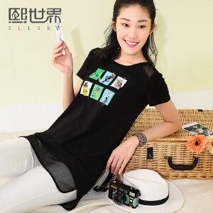 熙世界短袖T恤女2017夏装新款韩版中长款圆领印花上衣女122ST035