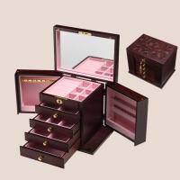 木质首饰盒梳妆盒化妆盒 木质雕花欧式公主收纳盒子表白礼物结婚纪念礼物情人节送女友