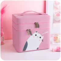 化妆包大容量多功能简约便携可爱少女韩国小号收纳盒品箱手提