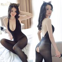性感情趣内衣服开裆免脱连体袜丝袜变态制服女骚透明激情套装调情