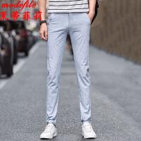 休闲裤 男士中腰弹力直筒春季新款韩版男装时尚潮流学生修身男式长裤子
