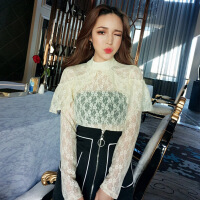 2018春季新款韩版套头半高领钉珠蕾丝衫+百搭黑白拼色A字裙套装女