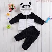 男女宝宝冬季加厚套装棉袄婴幼儿童装熊猫周岁表演拍照服装 熊猫套装(衣服+裤子)