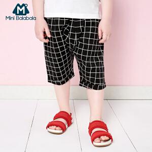 【尾品汇】迷你巴拉巴拉男童儿童中裤幼童夏装新款短裤格纹裤子时尚韩版潮