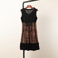 夏装新无袖连衣裙女中长气质修身显瘦豹纹裙子