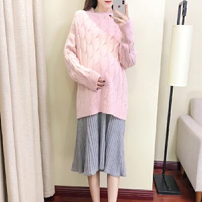 孕妇秋冬装套装款2018孕妇毛衣套头针织宽松大码两件套上衣潮