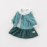 两件套戴维贝拉童装春季新款女童连衣裙 宝宝公主裙套装DB8423