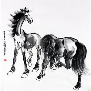 徐悲鸿 《双骏图》 国画大师