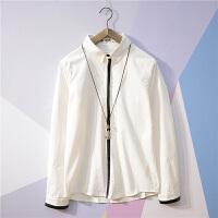 春季韩版青年寸衫男士修身长袖衬衫潮流行男装休闲衬衣学生青少年