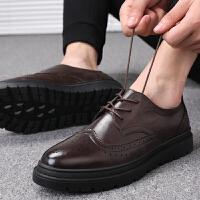 宜驰 EGCHI 商务休闲男士耐磨布洛克系带皮鞋子男 27649