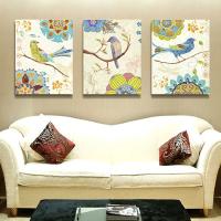 客厅装饰画沙发背景墙画壁画卧室床头画现代简约时尚无框画孔雀图SN3634 80*100适合挂4米左右宽墙面 整套价格